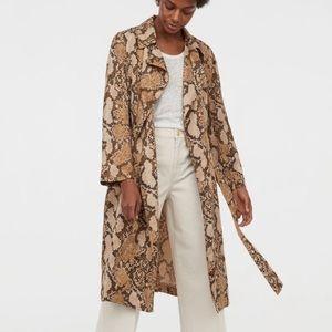 H&M SNAKE PRINT LYOCELL TRENCH COAT